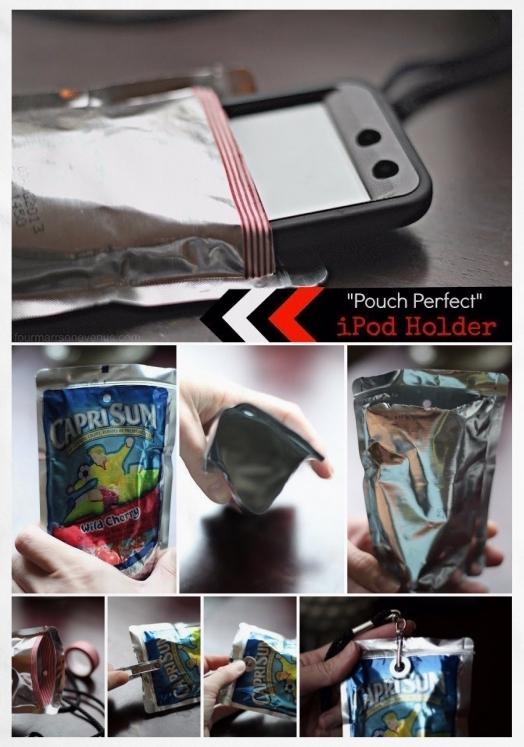 DIY Capri-Sun iPod / Phone Holder • Reusing food / juice pouches | ecogreenlove