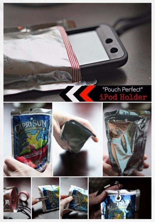 DIY Capri-Sun iPod / Phone Holder • Reusing food / juice pouches | ecogreenlove