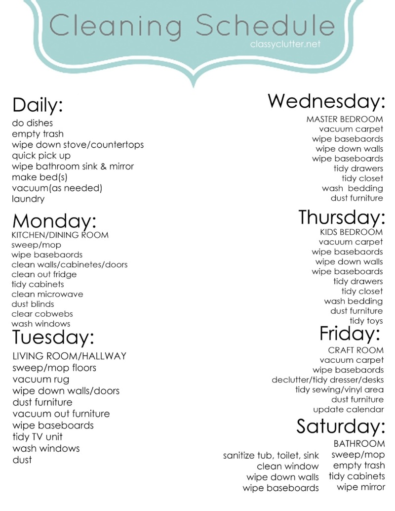 Cleaning Schedule [Guide] | ecogreenlove