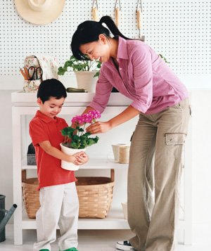 Once the little ones are potty-trained, give your changing table new life as a potting bench. A coat of semi-gloss or high-gloss paint will protect it from the elements. Stack pots on shelves and stash seeds in drawers. Fill an easy access hanging nylon or canvas diaper bag with shears and gloves.