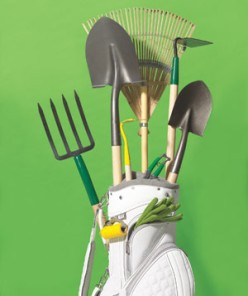 A spare golf bag can carry unwieldy rakes, shovels, and hoes from the garage to your own green fairway (er, backyard).