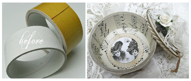 Trinket box with soldered art made from empty sticky tape roll