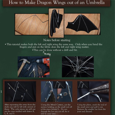 Dragon Wing out of an Umbrella - Tutorial by Aliuh on DeviantArt • Reusing Umbrellas   ecogreenlove