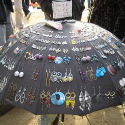 Umbrella earring display by Marisa on Flickr • Reusing Umbrellas | ecogreenlove