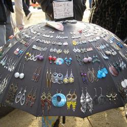 Umbrella earring display by Marisa on Flickr • Reusing Umbrellas | ecogreenlove
