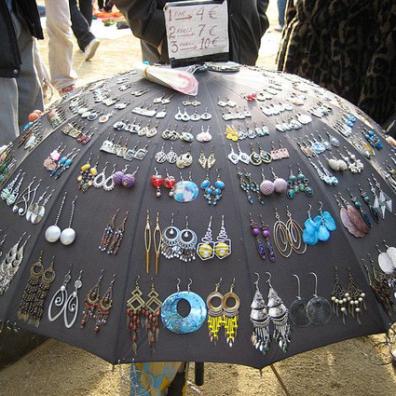 Umbrella earring display by Marisa on Flickr • Reusing Umbrellas   ecogreenlove