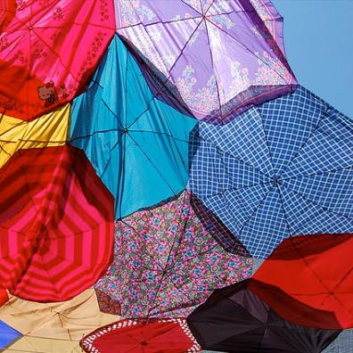 Upcycled umbrellas sun shade by Jenny on Flickr • Reusing Umbrellas   ecogreenlove