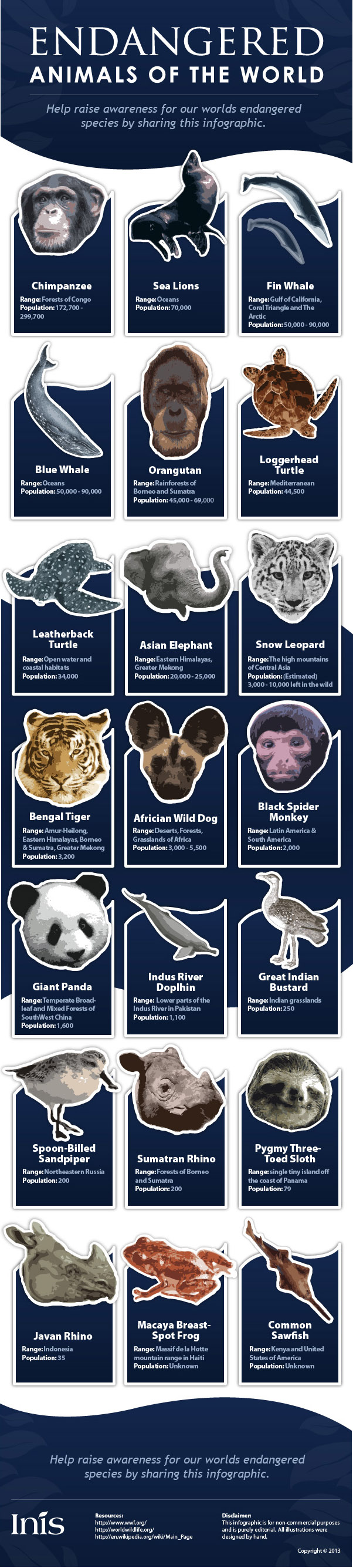 Endangered animals of the world [Infographic] | ecogreenlove