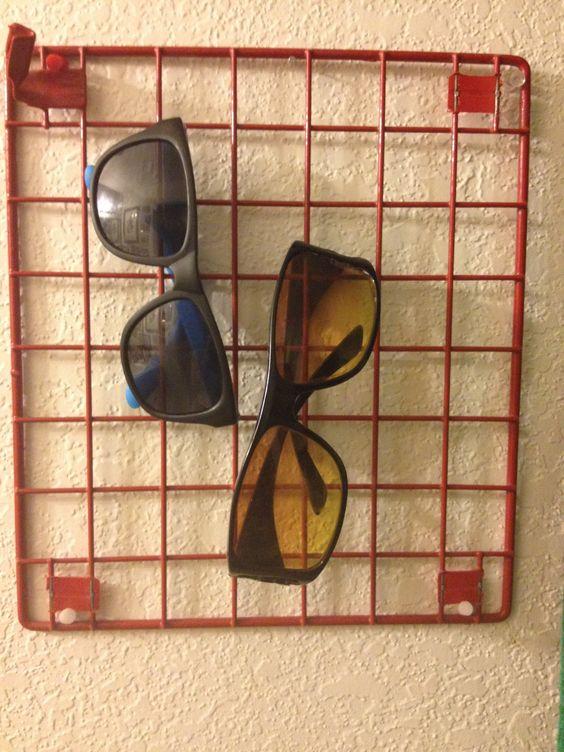Locker shelf as sunglasses holder • Creative Ways to Repurpose Eyeglasses   ecogreenlove