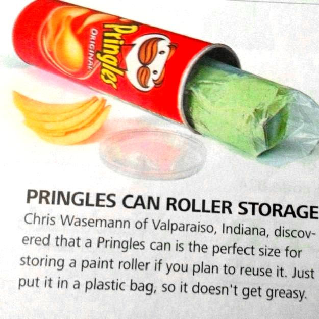 Paint roller storage hack • Creative Ways to Repurpose Pringles tube cans | ecogreenlove