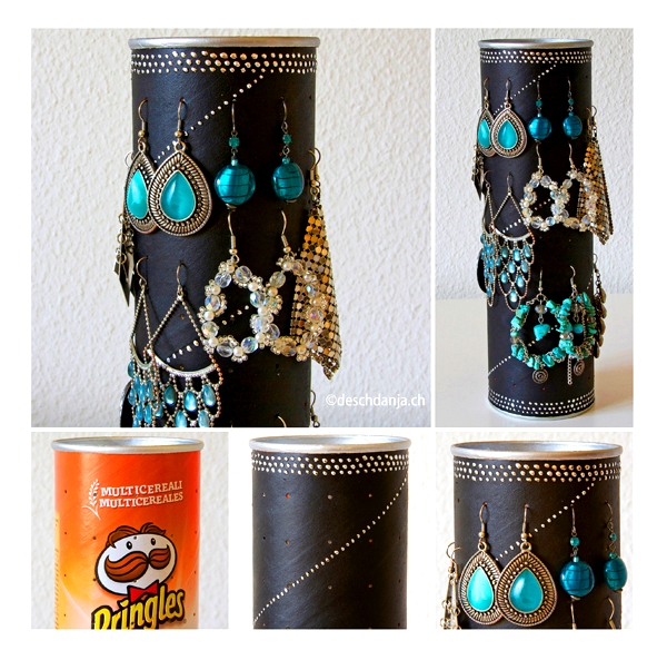 Earring holder • Creative Ways to Repurpose Pringles tube cans | ecogreenlove