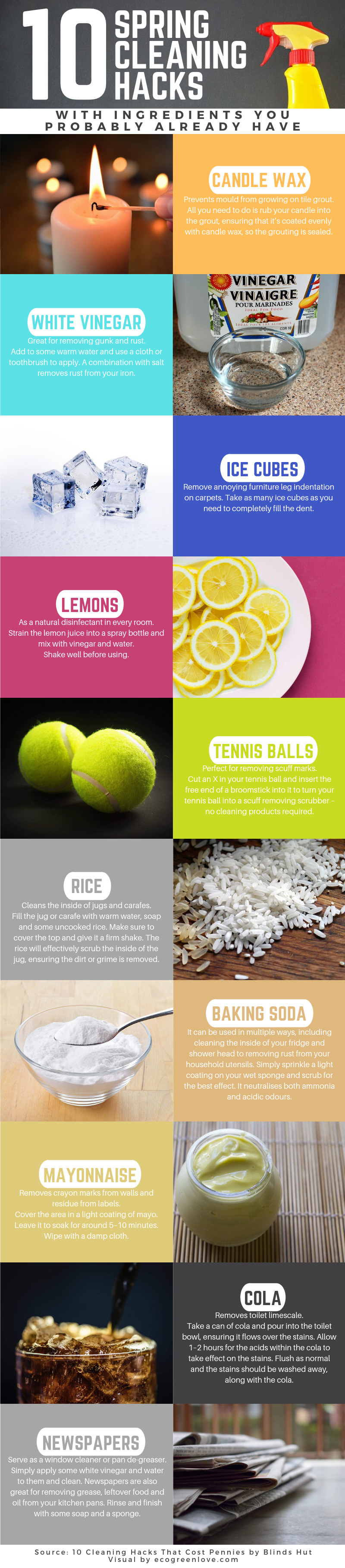 10 Spring Cleaning Hacks with Ingredients you probably already have [Infographic]   ecogreenlove