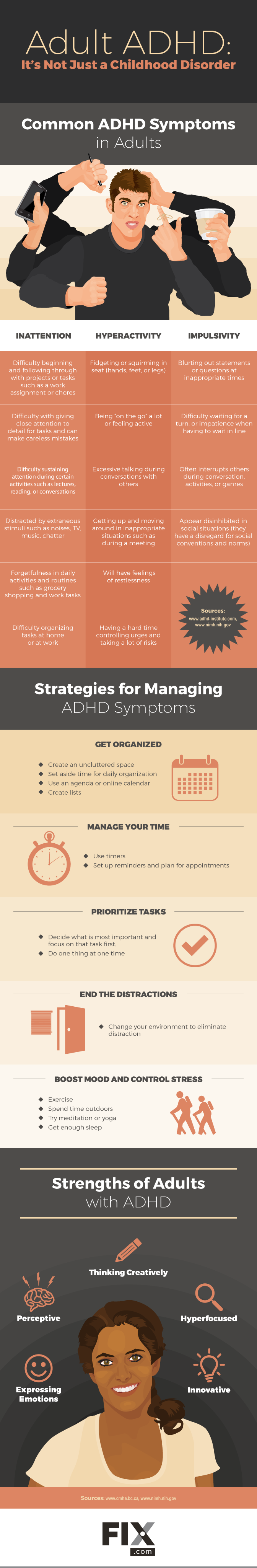ADHD in Adults: Symptoms & Strategies [Infographic] | ecogreenlove