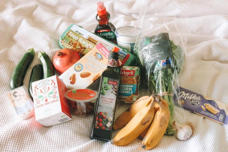 fresh produce and products from grocery shopping