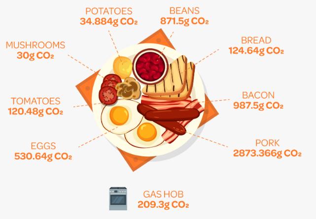 CO2e produced when cooking English breakfast   ecogreenlove