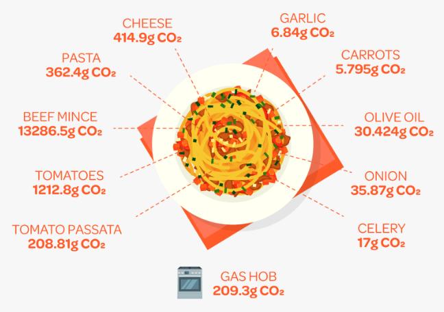 CO2e produced when cooking Spaghetti Bolognese   ecogreenlove